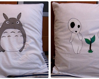 Pillowcase Totoro & Kodama / My neighbor Totoro / Princess Mononoké, forest spirit