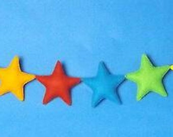 Handmade felt star garland, bright star banner, nursery decor, celebration.