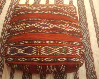 """moroccan pouf;; 24""""L x 24""""W x 10""""H;moroccan ottoman; furniture;hand made pouf; moroccan decor; kilim pouf;square pouf"""