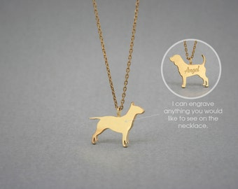 14K Solid GOLD Tiny BULL TERRIER Name Necklace - Bull Terrier Necklace - Gold Dog Necklace - 14K Gold or Rose Plated on 14k Gold Necklace