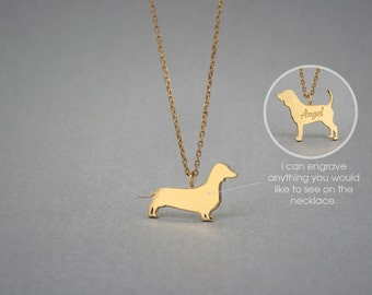 14K Solid GOLD Tiny DACHSHUND SHORTHAIRED Name Necklace - Doxie Necklace -Gold Dog Necklace - 14K Gold or Rose Plated on 14k Gold Necklace