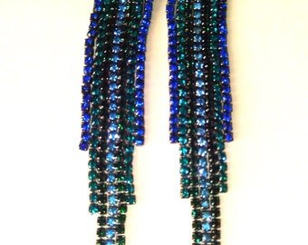 Vintage stud earrings tassels - Blue/Green - Vintage Jewelry - Chrystmas gift