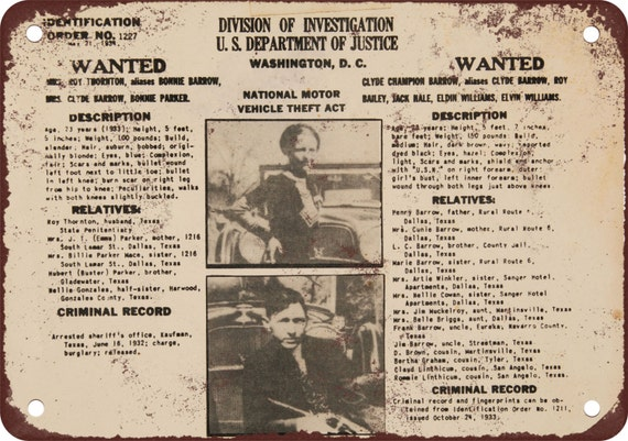 1934 bonnie clyde wanted poster vintage look reproduction