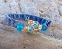 Denim beaded wrap cuff bracelet, denim bracelet, upcycled denim bracelet, repurposed jewelry, blue jean bracelets, beaded bracelets, denim