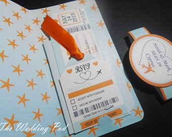 x10 Boarding pass invitation, destination wedding any colours available.