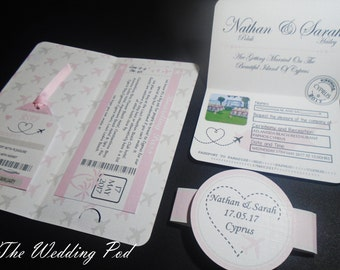 x10 Destination wedding invitation boarding pass wallet, passport and luggage tag