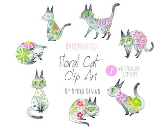 Cat Clipart, Cat illustration, Watercolor Printable, Cats, Kittens, Watercolour cat, invitation, greetings, clipart, flowers, DIY, Craft