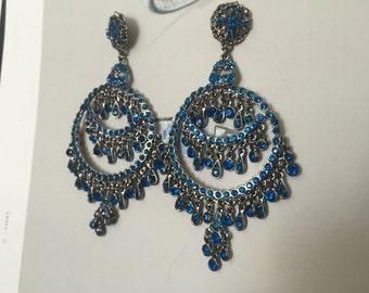 Blue crystal earrrings