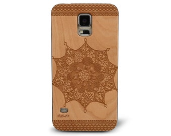 Hand Drawn Tribal Aztec Mandala Doodle Zentangle inspired Pattern Genuine Wood phone Case for Galaxy S5, S6 and S6Edge S-025
