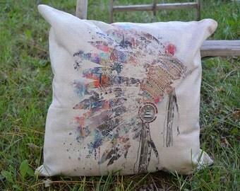 Indian Head Dress Watercolor Throw Pillow