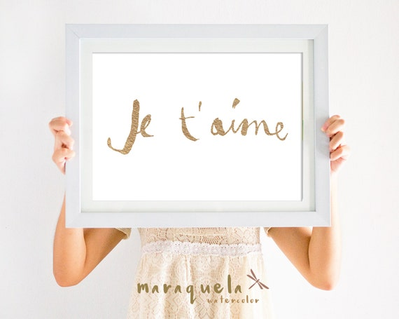 "GOLDEN Letters with message in French ""JE T'AIME"" (I love you).Golden Letters Wall Art Poster, love gift Fashion Art Print, Girl Decor room"
