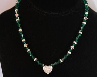 Emerald Green Swarovski Crystal Necklace
