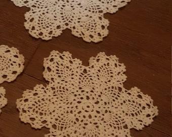 Set of 4 Vintage Lace Coasters