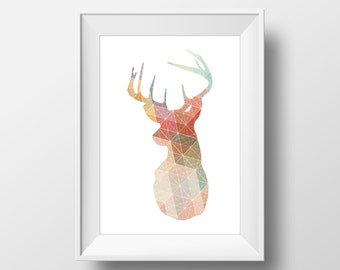 Colorful Geometric Deer Print, Deer Print, Deer Wall Art, Geometric Deer, Printable Deer Art, Deer Decor, Animal Nursery Decor