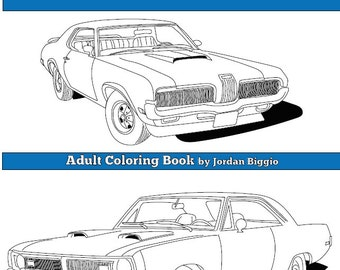 1970s Classic Muscle Cars: Adult Coloring Book Digital Download