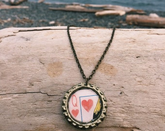 Queen of Hearts Bottle Cap Necklaces