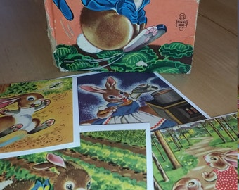 Set of 4 vintage Peter rabbit greeting cards. Upcycled from antique children's book. Blank interior.