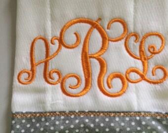 Custom Embroidered Tennessee Vol Burp Cloths