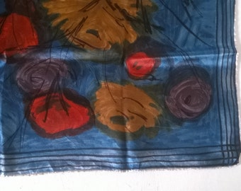 Abstract blue floral scarf / head scarf - square