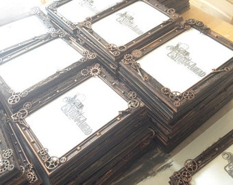 "Set of 10 4""x6"" Steampunk Picture Frames, Steampunk Wedding Gifts Steampunk Wedding Favors, Table Markers, Place Setting, Event"