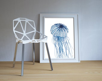 Jelly Fish, art print,  beach lover gift, beach decor, beach house decor, beach art, coastal art, beach house art, jellyfish painting