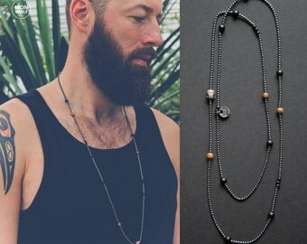 Hematite + Onyx + Horn + Wood necklace / hematite Buddha bead / gunmetal and black men's necklace / hematite necklace