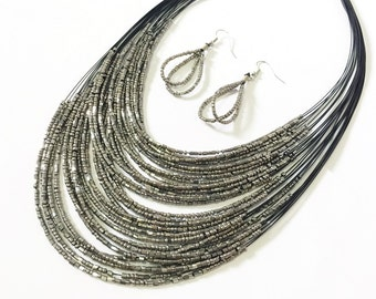 Gray Metallic Necklace,Silver Metallic Seed Bead and Earrings,Necklace and Earrings Set, Seed Bead Necklace,Seed Bead Jewelry