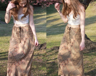 Vintage 80s Silk Maxi Skirt: drawstring, patterned, hippie, boho, bohemian, spring, summer