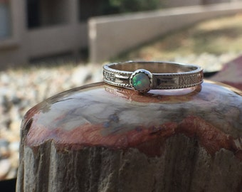 Handmade Lab Created Opal Sterling Silver Patterned Shank Stackable