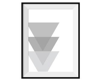 Grey Triangles Print Digital Download