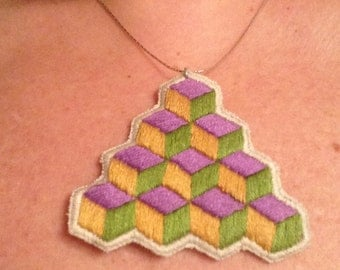 Hand embroidered pendant necklace geometric design