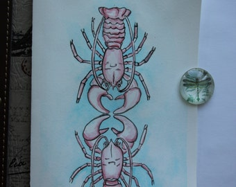 Lobster Love hand painted greeting card
