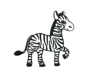 Zebra Embroidered Applique Iron on Patch