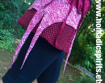 OSFM - Red adjustable wrap pixie skirt- burning man psytrance gypsy