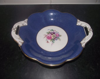 Coalport Cobalt Blue and white serving dish / comport