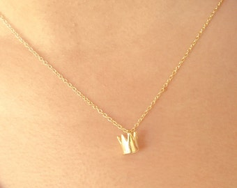 SALE... Crown Necklace, Gold Necklace, Minimalist, Simple, Tiny