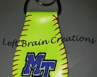 One Sided Custom Embroidered  Softball Key Chain