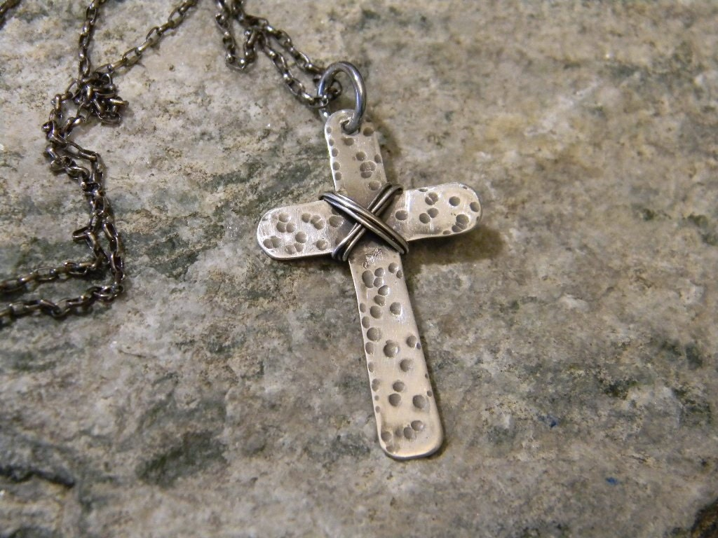 rustic sterling silver cross necklace mens womens boho. Black Bedroom Furniture Sets. Home Design Ideas
