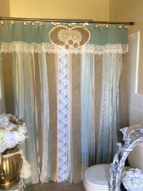 72 Shabby Rustic Chic Burlap Shower Curtain Lace Ruffles