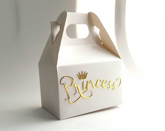 10 Small Princess Crown Gold Gable Style Treat Boxes