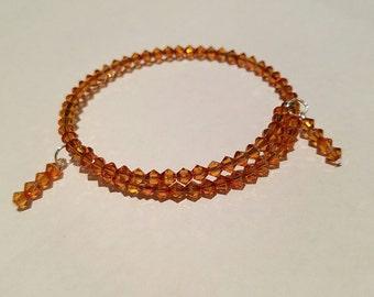 Bracelet, Crystal, Beaded Bracelet, Swarovski bracelet, Crystal Copper/orange, 4mm beads
