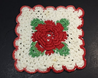 FREE SHIPPING, Vintage Pot Holders, Vintage Red and White Crocheted Pot Holders