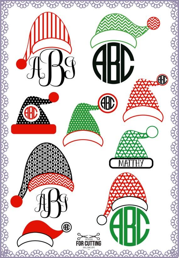 Christmas Santa Claus Hats Svg Cut Files, Monogram Frames, xmass, cut ...