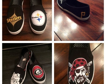 Made to order! Football, baseball, basketball! College or Pro Any team! FALL SALE Hand Painted Shoes examples canvas shoes Game Day!!
