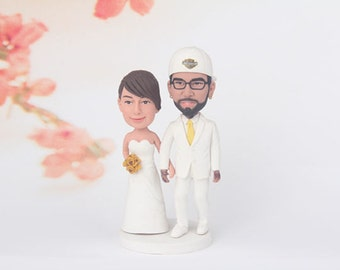 Wedding cake topper,  Mr and Mrs Wedding Cake Topper Custom wedding cake topper-bobblehead