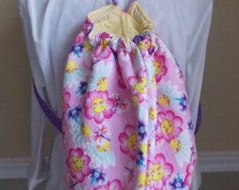 Pink Daisy Backpack, Drawstring Bag