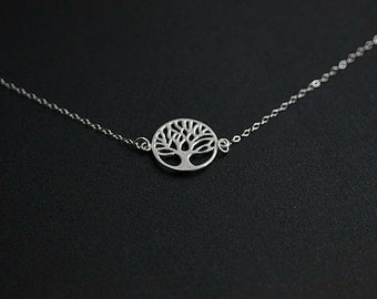 Floating Tree of Life Necklace - Mother's Day Necklace in Sterling silver - Silver Tree of Life necklace - Delicate necklace