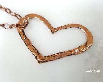 Heart Pendant Necklace Copper Heart Necklace Hand Hammered Copper Heart Pendant 16-Inch Copper Chain Necklace