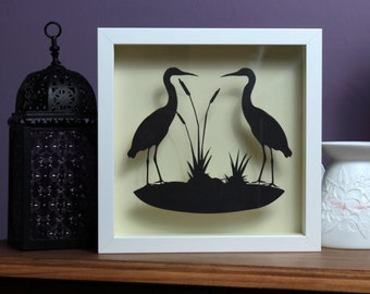 framed papercut gift, herons, silhouette papercut, framed gift, wall art, home decor