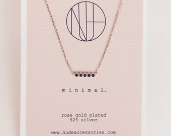 Delicate Rose Gold plated Black Diamond diabar Necklace